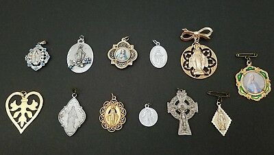 Mixed Lot Of 12 Antique & Vintage Christian Religious Pins & Pendants