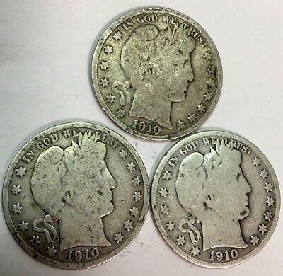 Silver Coins - Lot Of (3) Barber Half Dollars - 1910-S - 1.9 Million Minted