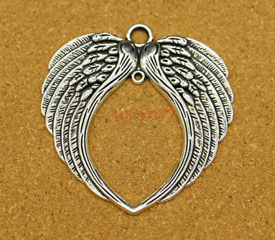 10pcs Large Angel Love Wings Feathers Antique Silver Charms Pendants 73x69mm