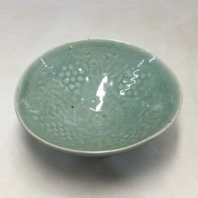 E124: Korean tea bowl of blue porcelain of Goryeo Dynasty style with good relief