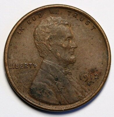 US 1912 S  Lincoln Wheat Cent  Penny Coin  Rare High Grade