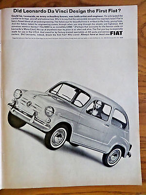 1965 Fiat 600D Coupe Ad Did Leonardo Da Vinci Design the 1st Fiat?