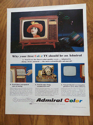 1966 Admiral Color TV Television  Ad Admiral 25 Rectangular TV Channing LG5511