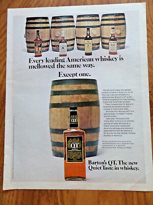 1971 Barton's QT Whiskey Ad  Seasoned for Years in Old Wooden Barrels