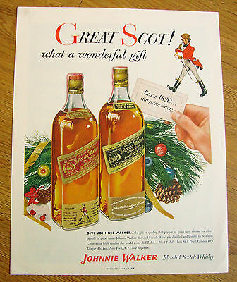 1955 Johnnie Walker Whiskey Ad  Christmas Theme