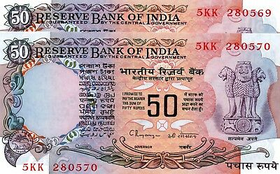 INDIA 50 Rupees 1997 P84j Letter C x 2 Consecutive UNC Banknotes