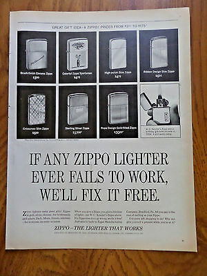 1965 ZIPPO Lighter Ad Shows 8 Lighters