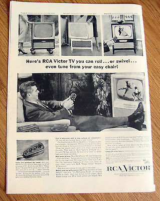 1955 TV Television Ad  TV you Can Roll or Swivel Even Tune from Easy Chair