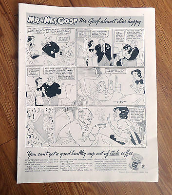 1934 Chase Sanborn Coffee Ad Comic  Mr & Mrs Goof Mr Goof Almost Dies Happy