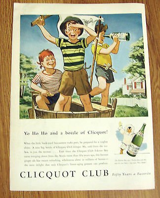 1943 Clicquot Club Ginger Ale Ad Little Boys Pirates Back-Yard Buccaneers