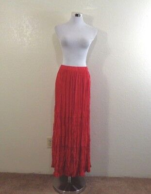 90s SEDONA CLOTHING CO RED RAYON TIERED LONG BROOMSTICK SKIRT SZ O/S