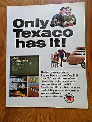 1965 Texaco Gas Oil Ad Only Texaco Has It Touring Atlas by Rand McNally