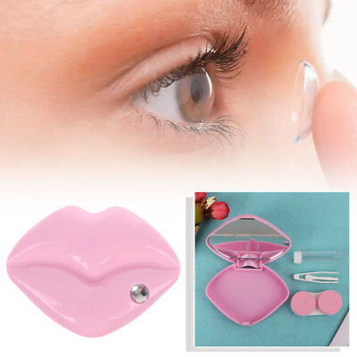 Contact Lens Box Lips Shape Travel Portable Case Mirror Storage Container Holder