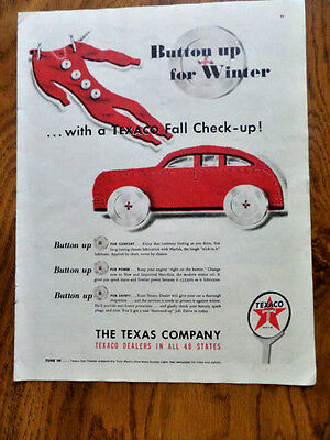 1947 Texaco Texas Company Ad  Button up for Winter Fall Check-Up