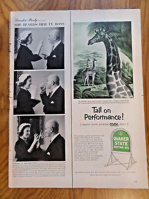 1952 Quaker State Oil Ad The Giraffe  Tall on Performance