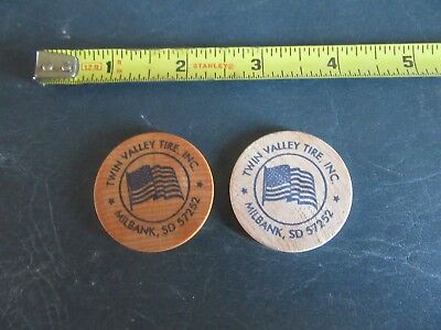 Vintage Lot of 2 Wood Tokens Twin Valley Tire Milbank SD   Lot 18-28-C