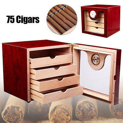 75 Count Cedar Wood Cigar Humidor Humidifier Case Box + Hygrometer Humidor Lock
