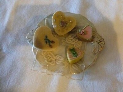 Victorian-Era Ironstone Butter Pat, Tiny Victorian Lace Doily, 4 Heart-Shaped Ca