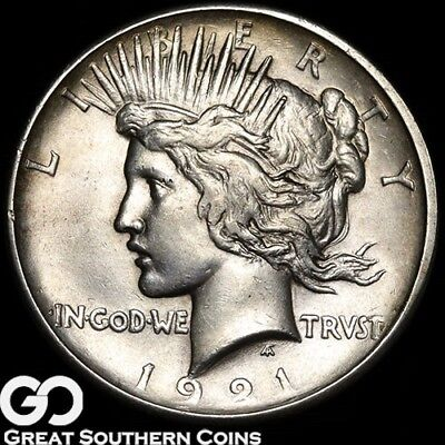 1921 Peace Dollar, High Relief, Avidly Pursued Key Date First Year Issue