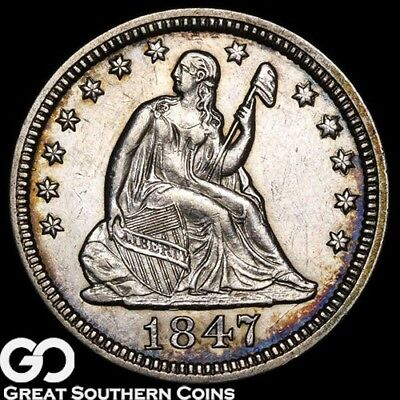 1847 Seated Liberty Quarter, Tough Type, Choice Uncirculated++ Silver, Free S/H!