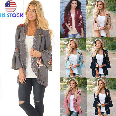 Women Floral Print Casual Coat Flared Sleeve Lace Contrast Cardigan Jackets S-XL