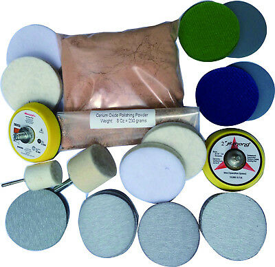 Glass Polishing Kit For Deep Scratch, 8 OZ Powder and 2'' Sanding Discs