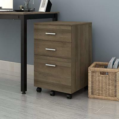 Orford Home 3-drawer Mobile Wood Filing Storage Cabinet for A4 Size, Gray Oak