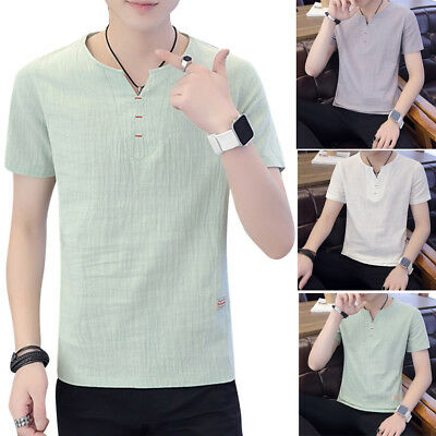 Men Casual Solid Color Cotton Short Sleeve T-shirt Thin V Neck Shirts Blouse TP