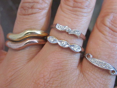 Vintage Size10 Esposito 14K 18K GE Gold Plated Rhinestone Band Rings Lot*A259
