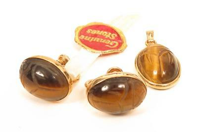 Vintage Tiger's Eye Scarab Beetle Gemstone Pendant Earrings Gold Filled Set*F142