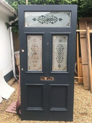 Xl Victorian Etched Glass Front Door Period Old Reclaimed Antique Teak Wooden