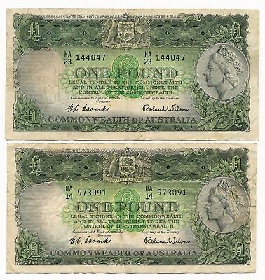 Australia 1 Pound ND 1953 Coombs Wilson Commonwealth  R. 33 QEII 2 Notes F+/VF