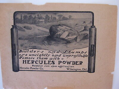Hercules Powder 1905 Early Dynamite Advertising Piece Free Shipping!