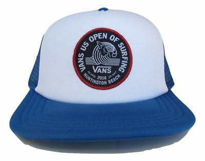 4d449b721ca Vans Off The Wall 2016 VUSO US Open Surf Hat Cap Trucker Blue White NWT One