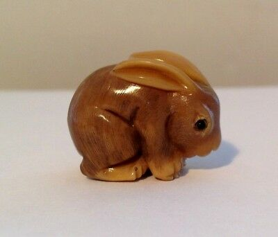 Hand Carved  Netsuke, Little Rabbit Vintage antique style signed