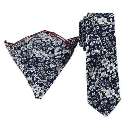 Coachella Ties D.Blue with White Floral Cotton Necktie/Pocket Square Skinny Tie