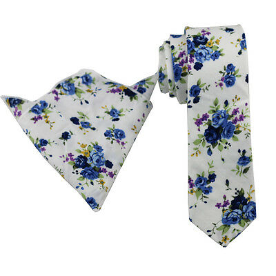 Coachella Ties White Blue Purple Floral Cotton Necktie/Pocket Square Skinny Tie