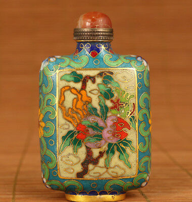 100% GOOD rare chinese old cloisonne hand painting flower snuff bottle fine gift