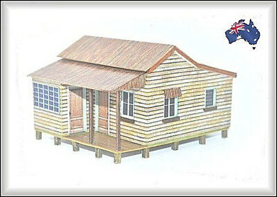 HO Scale Australian WEATHERBOARD COTTAGE with Sleepout Annexe