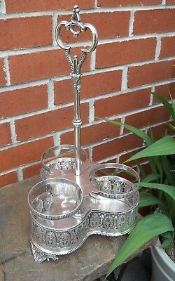 Victorian Silver Plated Decanter Stand  / Silver Plate Wine Bottle Stand Holder