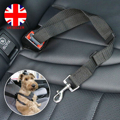 Pet Dog Puppy Car Safety Seat Belt Harness Adjustable Restraint Metal Clip UK