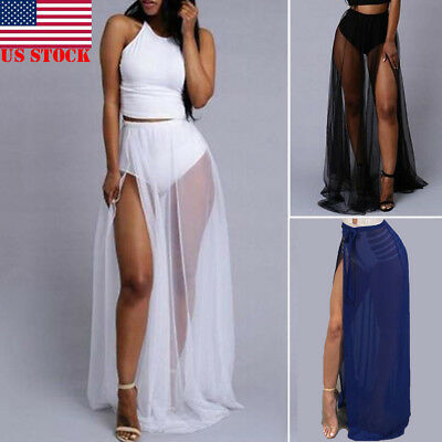 US STOCK Women Trendy Fashion Fitted Sexy Sheer Mesh See Through Long Maxi Skirt