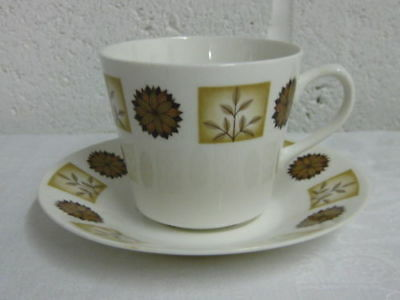 """Royal Vale """" Brown Flowers """" Tea Cups And Saucers"""