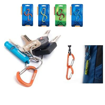 NatureHike Aluminum Alloy Carabiner Hook Clasps x 2 30kg Mini D Buckle Wire Clip