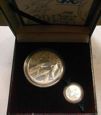 south africa 2 coins silver set 2001 - dolphin set - VERY RARE