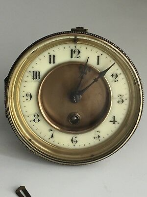 Vintage French Clock's Movement With Its Brass Case For Parts Or Repair