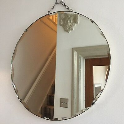 Round Vintage Frameless Mirror Scalloped Bevelled Edges Original Chain 40cm