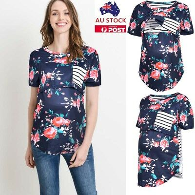 Plus Size Pregnant Women Floral Print Nursing Tops Maternity Breastfeeding Shirt