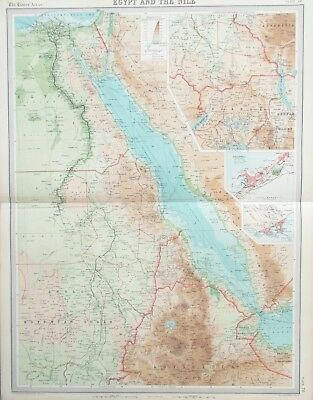Map of Egypt & the River Nile.1922. AFRICA. RED SEA.SINAI  Original