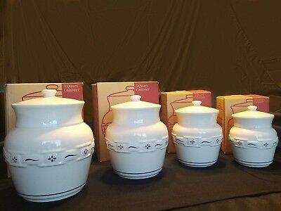 Longaberger Pottery Woven Traditions Heritage Blue 4 Piece Canister Set w/ Boxes